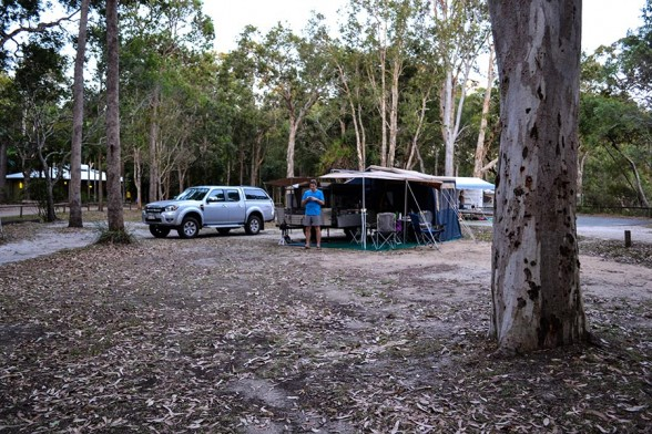 Boreen Point - Camp setup ... just metres from the lake